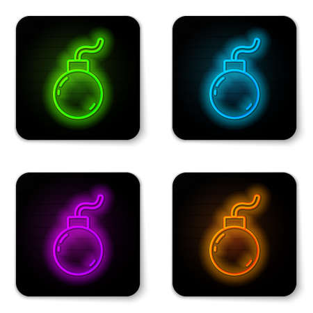 Glowing neon line Bomb ready to explode icon isolated on white background. Black square button. Vector