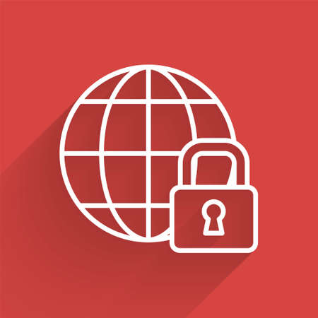 White line Global lockdown - locked globe icon isolated with long shadow. Vector
