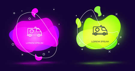 Line Ambulance and emergency car icon isolated on black background. Ambulance vehicle medical evacuation. Abstract banner with liquid shapes. Vector.