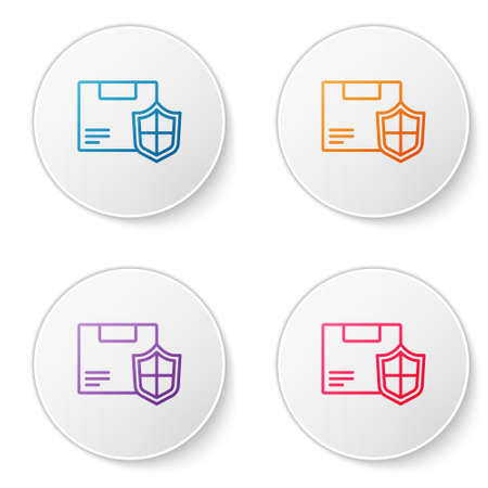 Color line Delivery security with shield icon isolated on white background. Delivery insurance. Insured cardboard boxes beyond the shield. Set icons in circle buttons. Vector.