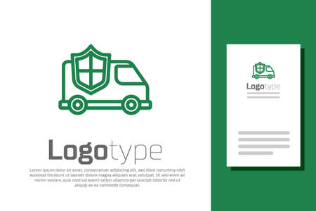 Green line Car with shield icon isolated on white background. Insurance concept. Security, safety, protection, protect concept. Logo design template element. Vector.