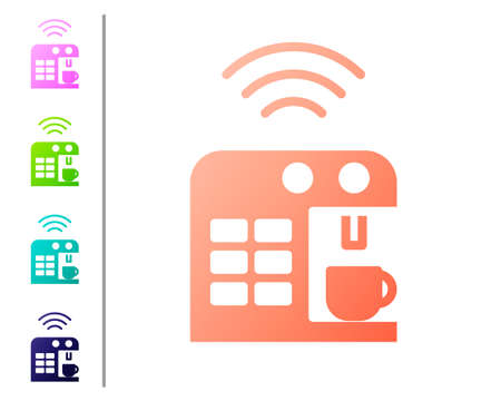 Coral Smart coffee machine system icon isolated on white background. Internet of things concept with wireless connection. Set color icons. Vector