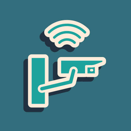 Green Smart security camera icon isolated on green background. Internet of things concept with wireless connection. Long shadow style. Vector