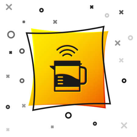 Black Smart electric kettle system icon isolated on white background. Teapot icon. Internet of things concept with wireless connection. Yellow square button. Vector