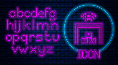 Glowing neon Smart warehouse system icon isolated on brick wall background. Neon light alphabet. Vector Ilustração