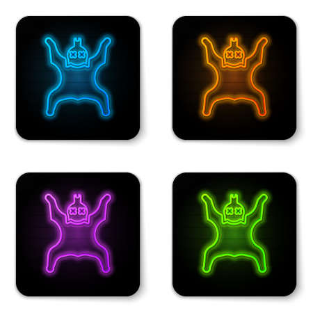 Glowing neon Bear skin icon isolated on white background. Black square button. Vector