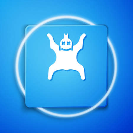 White Bear skin icon isolated on blue background. Blue square button. Vector