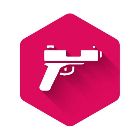 White Pistol or gun icon isolated with long shadow. Police or military handgun. Small firearm. Pink hexagon button. Vector