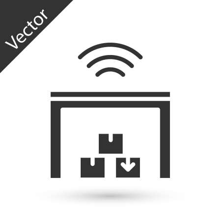 Grey Smart warehouse system icon isolated on white background. Vector Ilustração