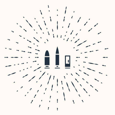 Grey Bullet and cartridge icon isolated on beige background. Abstract circle random dots. Vector