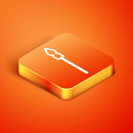 Isometric Medieval spear icon isolated on orange background. Medieval weapon. Vector Ilustração