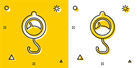 Black Spring scale icon isolated on yellow and white background. Balance for weighing. Determination of weight. Random dynamic shapes. Vector  イラスト・ベクター素材