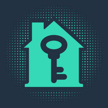 Green House with key icon isolated on blue background. The concept of the house turnkey. Abstract circle random dots. Vector