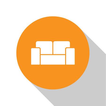 White Sofa icon isolated on white background. Orange circle button. Vector