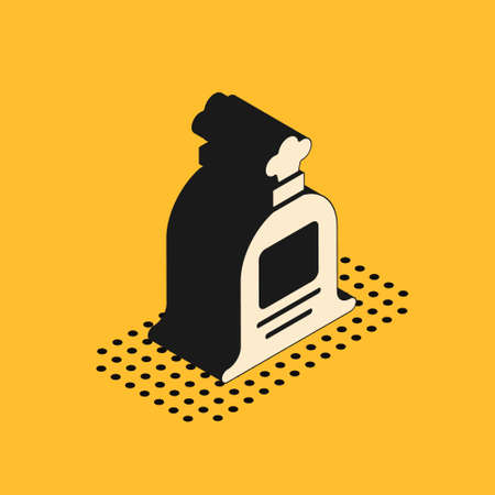 Isometric Full sack icon isolated on yellow background. Vector
