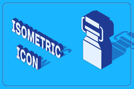 Isometric Can container for milk icon isolated on blue background. Vector
