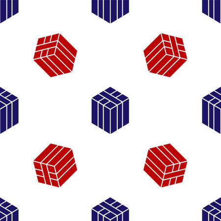 Blue and red Bale of hay icon isolated seamless pattern on white background. Vector