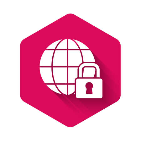 White Global lockdown - locked globe icon isolated with long shadow. Pink hexagon button. Vector