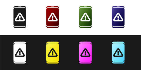 Set Mobile phone with exclamation mark icon isolated on black and white background. Alert message smartphone notification. Vector