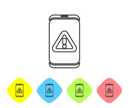 Grey line Mobile phone with exclamation mark icon isolated on white background. Alert message smartphone notification. Set icons in color rhombus buttons. Vector