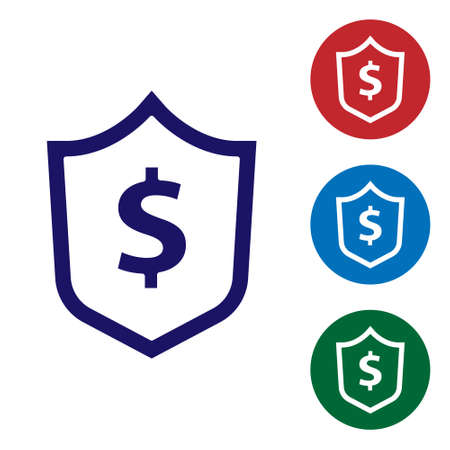 Blue with dollar symbol icon isolated on white background. Security shield protection. Money security concept. Set icons in color square buttons. Vector