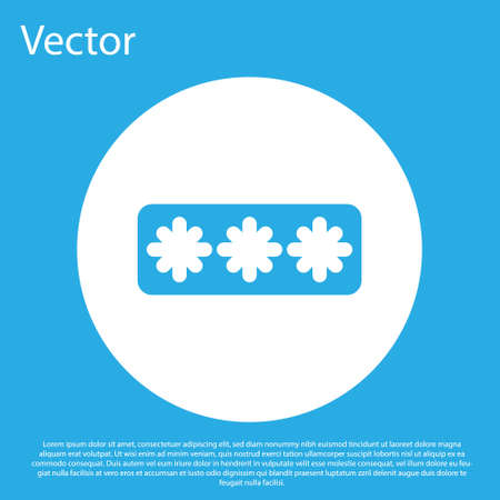 Blue Password protection and safety access icon isolated on blue background. Security, safety, protection, privacy concept. White circle button. Vector