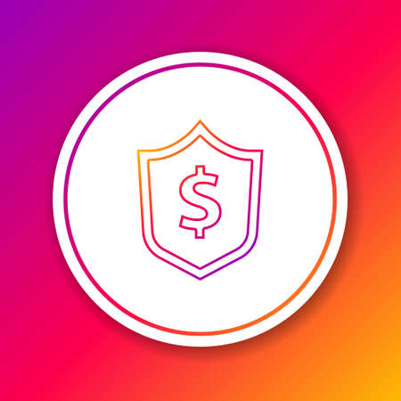 Color line Shield with dollar symbol icon isolated on color background. Security shield protection. Money security concept. Circle white button. Vector Vectores
