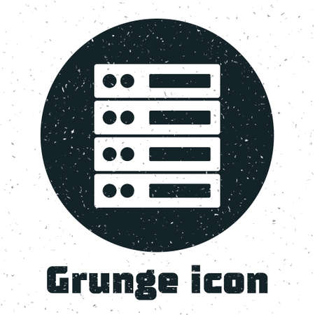 Grunge Server, Data, Web Hosting icon isolated on white background. Monochrome vintage drawing. Vector