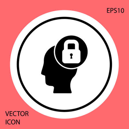 Black Human head with lock icon isolated on red background. White circle button. Vector Vectores