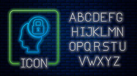 Glowing neon Human head with lock icon isolated on brick wall background. Neon light alphabet. Vector Vectores
