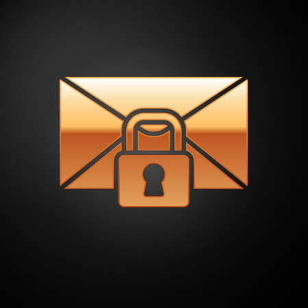 Gold Mail message lock password icon isolated on black background. Envelope with padlock. Private, security, secure, protection, privacy. Vector Vectores