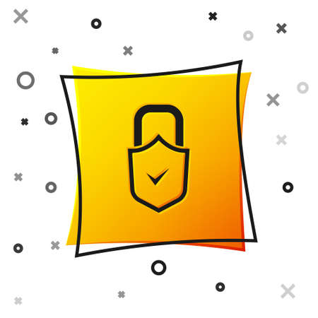 Black Open padlock and check mark icon isolated on white background. Cyber security concept. Digital data protection. Safety safety. Yellow square button. Vector Vectores