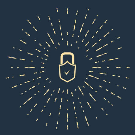 Beige Open padlock and check mark icon isolated on blue background. Cyber security concept. Digital data protection. Safety safety. Abstract circle random dots. Vector