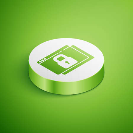Isometric Secure your site with HTTPS, SSL icon isolated on green background. Internet communication protocol. White circle button. Vector Vectores