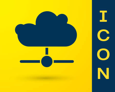 Blue Network cloud connection icon isolated on yellow background. Social technology. Cloud computing concept. Vector Vectores