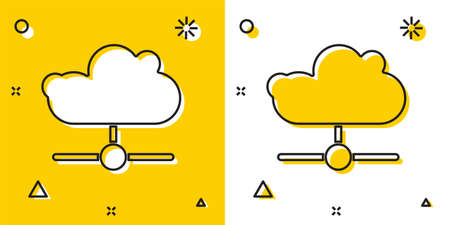 Black Network cloud connection icon isolated on yellow and white background. Social technology. Cloud computing concept. Random dynamic shapes. Vector Vectores