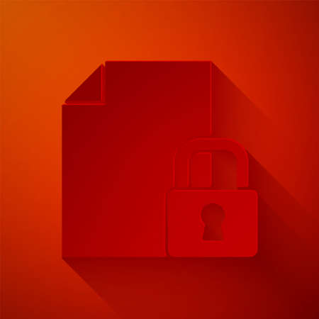 Paper cut Document and lock icon isolated on red background. File format and padlock. Security, safety, protection concept. Paper art style. Vector