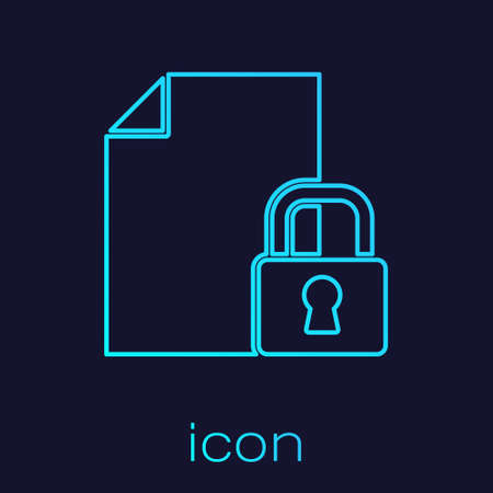 Turquoise line Document and lock icon isolated on blue background. File format and padlock. Security, safety, protection concept. Vector
