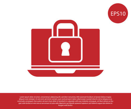 Red Laptop and lock icon isolated on white background. Computer and padlock. Security, safety, protection concept. Safe internetwork. Vector