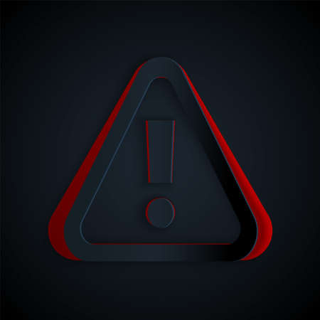 Paper cut Exclamation mark in triangle icon isolated on black background. Hazard warning sign, careful, attention, danger warning sign. Paper art style. Vector