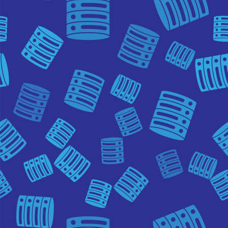 Blue Server, Data, Web Hosting icon isolated seamless pattern on blue background. Vector