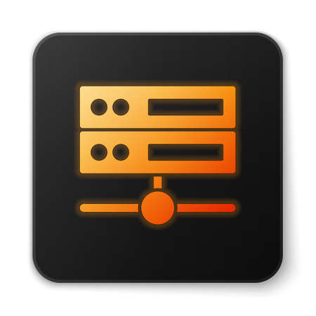 Orange glowing neon Server, Data, Web Hosting icon isolated on white background. Black square button. Vector