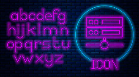 Glowing neon Server, Data, Web Hosting icon isolated on brick wall background. Neon light alphabet. Vector Vectores