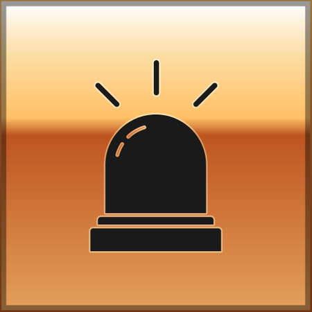 Black Motion sensor icon isolated on gold background. Vector Vectores