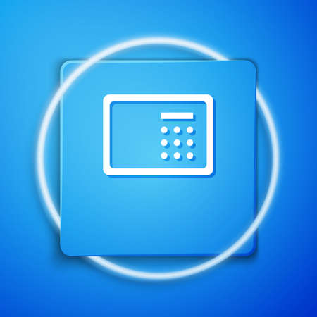 White Safe icon isolated on blue background. The door safe a bank vault with a combination lock. Reliable Data Protection. Blue square button. Vector