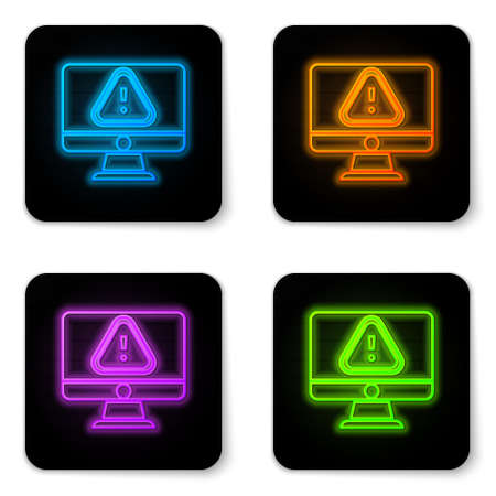 Glowing neon Computer monitor with exclamation mark icon isolated on white background. Alert message smartphone notification. Black square button. Vector