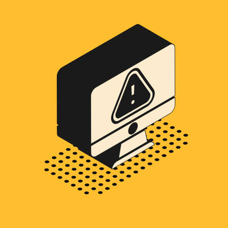 Isometric Computer monitor with exclamation mark icon isolated on yellow background. Alert message smartphone notification. Vector Vectores
