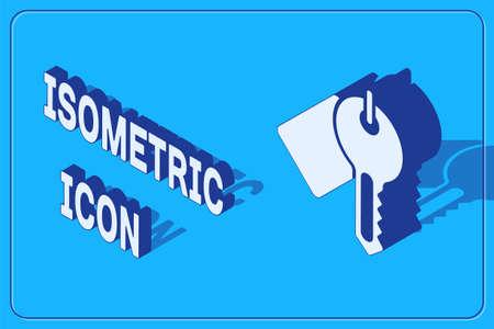 Isometric Marked key icon isolated on blue background. Vector