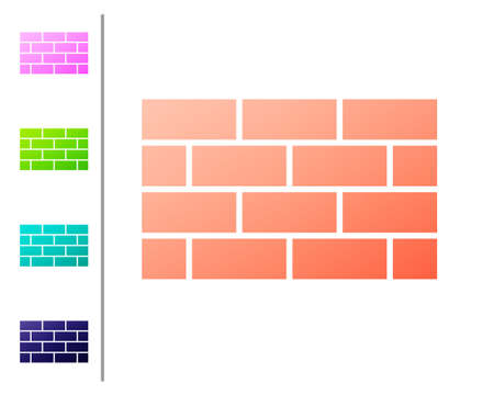 Coral Firewall, security wall icon isolated on white background. Set color icons. Vector
