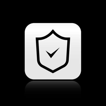 Black Shield with check mark icon isolated on black background. Security, safety, protection, privacy concept. Tick mark approved. Silver square button. Vector
